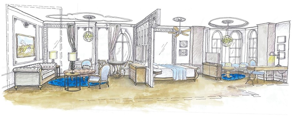 Suite room, Senla Boutique hotel watercolur sketch, Saigon