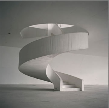 stair at Theater, Niteroi, Brazil, Oscar Niemeyer 1999, photo by Lynn Davis